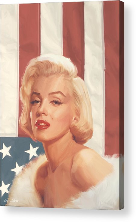 Marilyn Acrylic Print featuring the painting True Blue Marilyn In Flag by Chris Consani