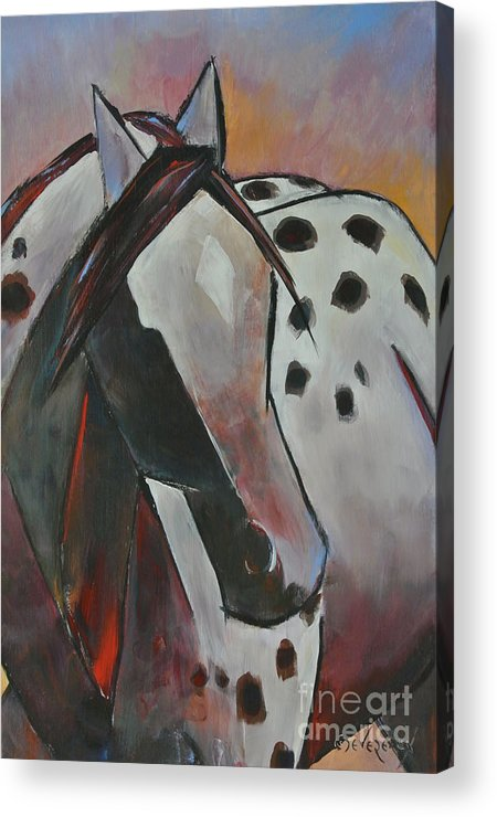 Horse Acrylic Print featuring the painting Tude by Cher Devereaux