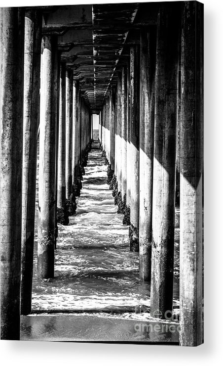 America Acrylic Print featuring the photograph Under Huntington Beach Pier Black And White Picture by Paul Velgos
