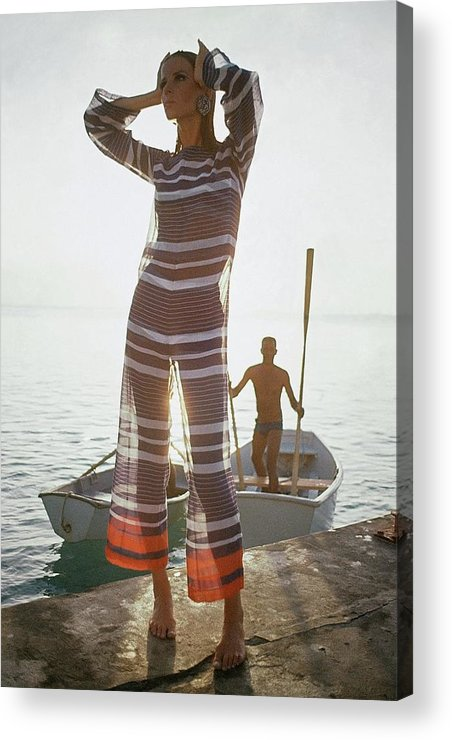 Fashion Acrylic Print featuring the photograph Veruschka Von Lehndorff Wearing Jumpsuit by Louis Faurer