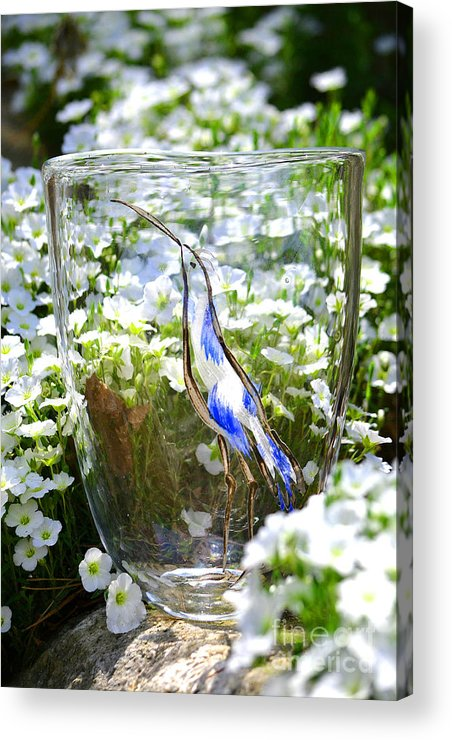 Owl Acrylic Print featuring the glass art Vinsanchi Glass Art-3 by Vin Kitayama