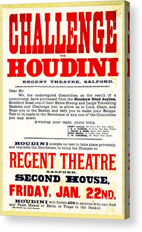 Houdini Acrylic Print featuring the photograph Vintage Challenge Houdini Poster by Wingsdomain Art and Photography