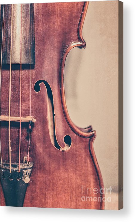 Violin Acrylic Print featuring the photograph Vintage Violin Portrait 2 by Emily Kay