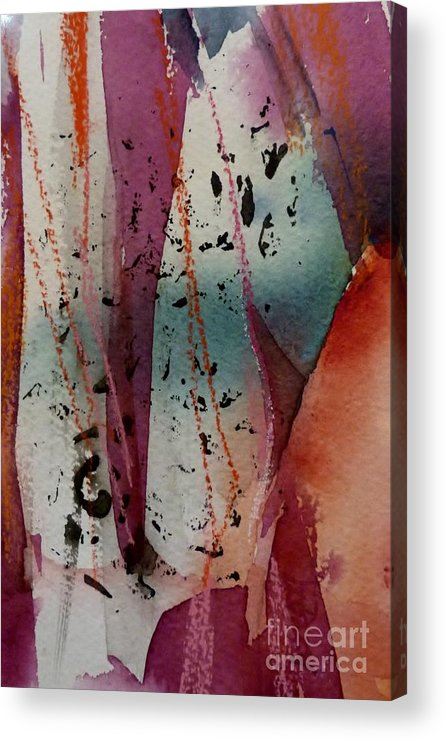 Hortensia Acrylic Print featuring the painting Violet Verticals by Donna Acheson-Juillet
