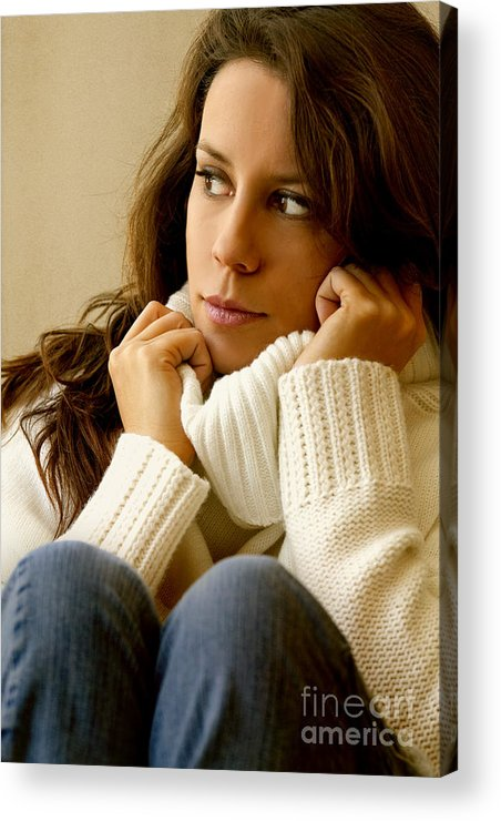 Woman; Lady; Female; Caucasian; Casual; Comfort; Comfortable; Lazy; Sweater; Warm; Warmth; Jeans; Sitting; Lounge; Lounging; Living Room; Indoors; Inside; Brunette; Alone; In Thought; Long Hair; Turtleneck Acrylic Print featuring the photograph Warmth by Margie Hurwich