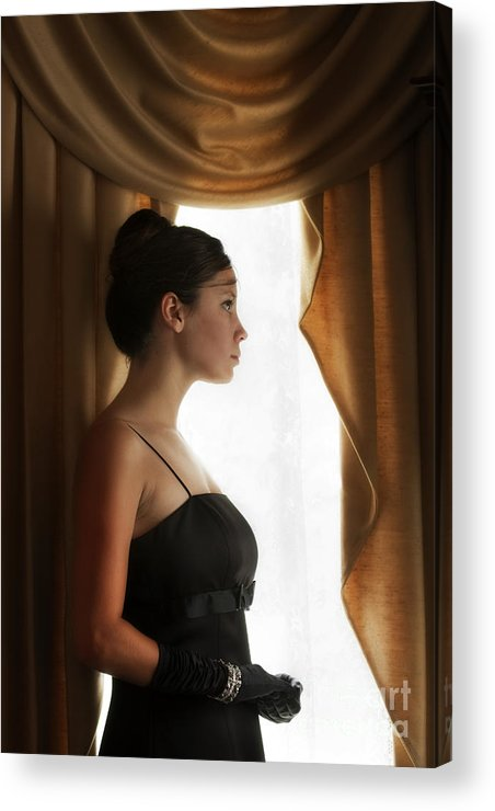 Woman; Female; Lady; Caucasian; Beautiful; Pretty; Brunette; Up Do; Dress; Elegant; Formal; Profile; In Thought; Gloves; Bracelet; Indoors; Inside; Drapes; Audrey Hepburn; Pose; Curtains; Soft; Softness; Sad; Lonely; Black Acrylic Print featuring the photograph Watching by Margie Hurwich