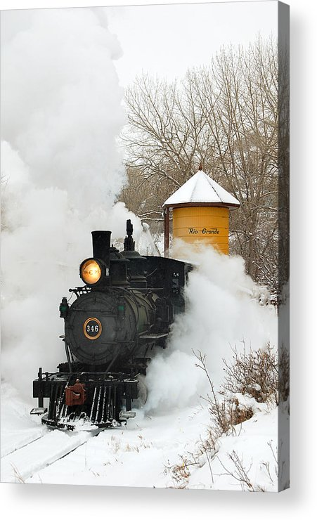 Colorado Railroad Museum Acrylic Print featuring the photograph Water Tower Behind The Steam by Ken Smith