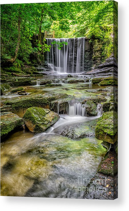 Wrexham Acrylic Print featuring the photograph Waterfall by Adrian Evans