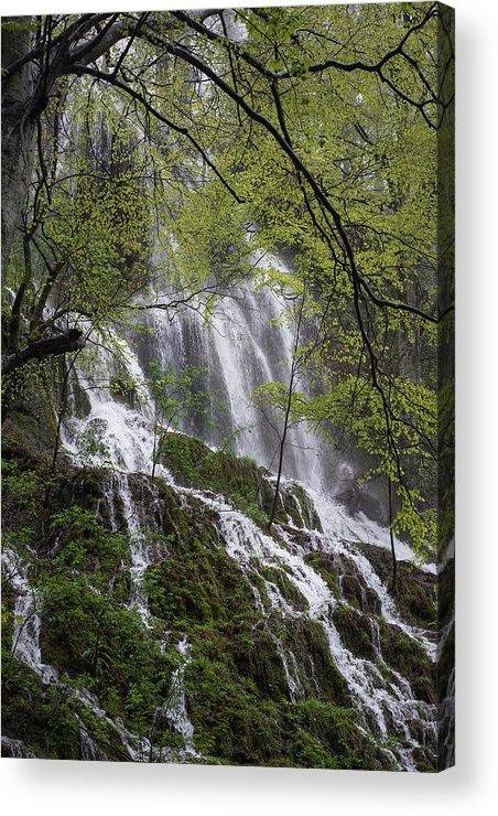 Landscape Acrylic Print featuring the photograph Waterfalls by Rumena Kazakova