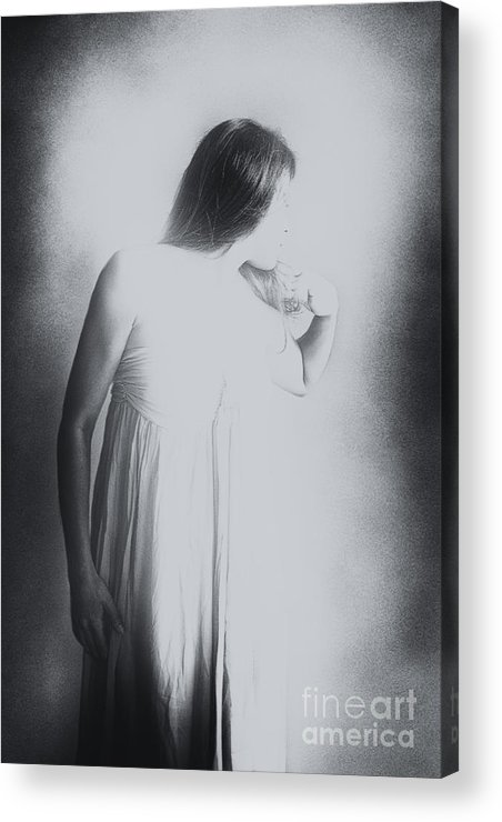 Caucasian; Woman; Lady; Female; Pretty; Beautiful; Brunette; Prim; Proper; Feminine; Grey; Gray; Black; White; Mulled; Out Of Focus; Blur; Blurred; Blurry; Looking Away; Long Hair; Faceless Acrylic Print featuring the photograph Whisper by Margie Hurwich