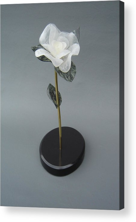 Flower Acrylic Print featuring the sculpture White Rose by Leslie Dycke