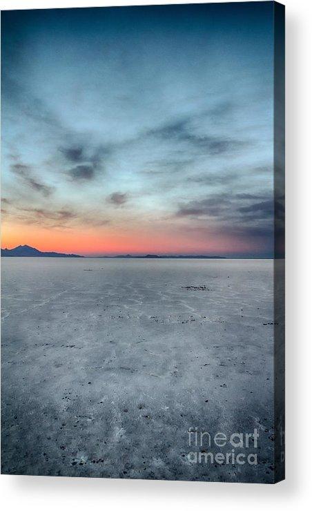 Salt Flats Acrylic Print featuring the photograph White Salt Sunset Sky by Mitch Johanson