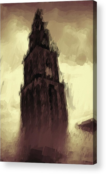 Tower Acrylic Print featuring the painting Wicked Tower by Inspirowl Design