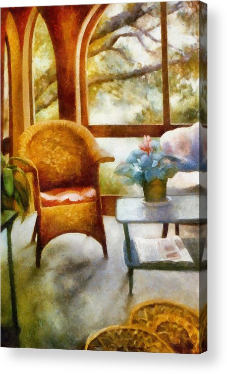 Interior Acrylic Print featuring the painting Wicker Chair And Cyclamen by Michelle Calkins