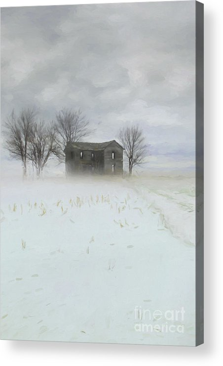 Art; Artistic; Background; Building; Card; Christmas; Country; Countryside; Day; Digital; Door; Family; Farm; Holiday; House; Illustration; Image; Landscape; Nature; Outdoors; Paintings; Quiet; Rural; Rustic; Season; Snow; Time; Trees; Watercolor; White; Winter; Xmas; Greeting Card; Digital Art; Digital Painting; Acrylic Print featuring the photograph Winter Scene Of A Farmhouse/digital Painting by Sandra Cunningham