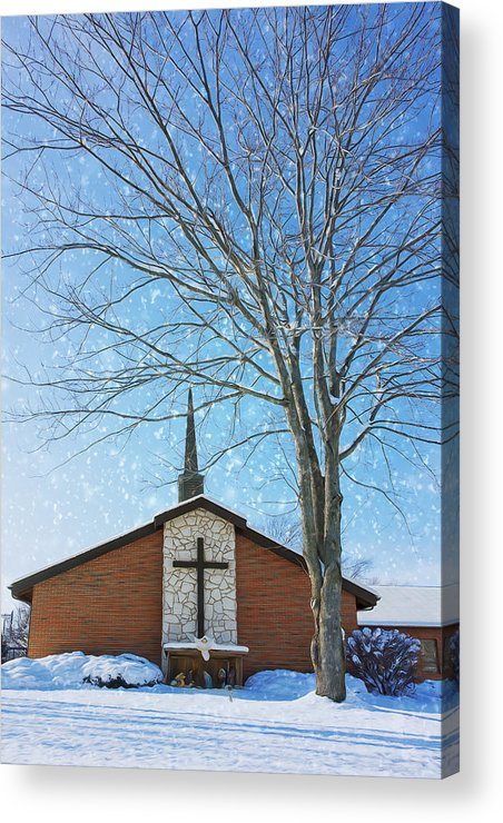 Dark Skies Acrylic Print featuring the photograph Winter Worship by Bill Tiepelman