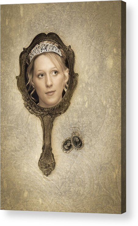 Woman Acrylic Print featuring the photograph Woman In Mirror by Amanda Elwell