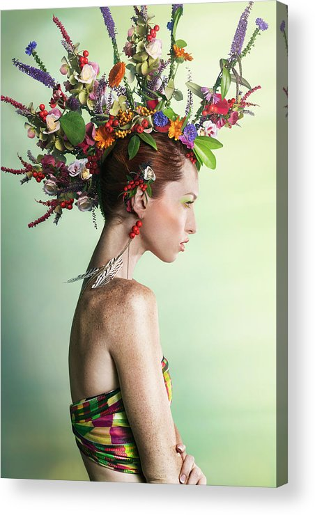 Art Acrylic Print featuring the photograph Woman Wearing A Colorful Floral Mohawk by Paper Boat Creative