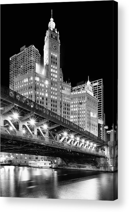 Dusk Acrylic Print featuring the photograph Wrigley Building At Night In Black And White by Sebastian Musial