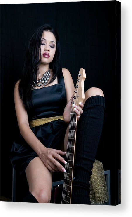 Adult Acrylic Print featuring the photograph Young Lady With Guitar by Russell Shively