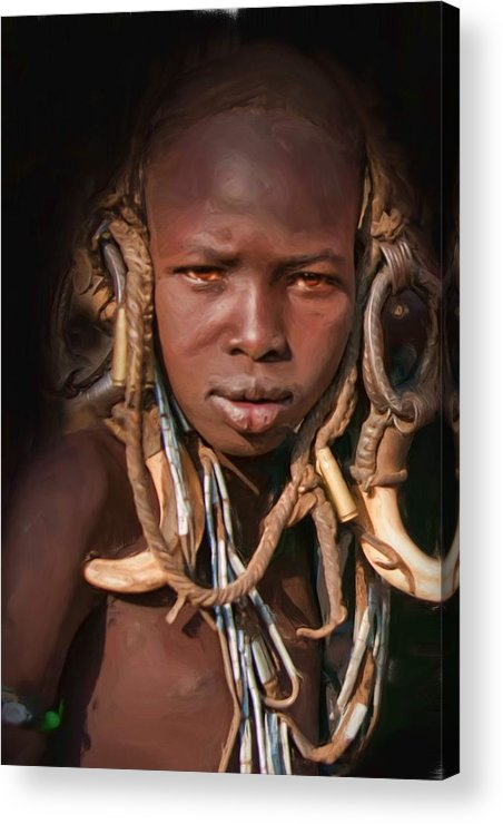 Young Boy From The Mursi Tribe Acrylic Print featuring the digital art Young Mursi Boy by Nichon Thorstrom