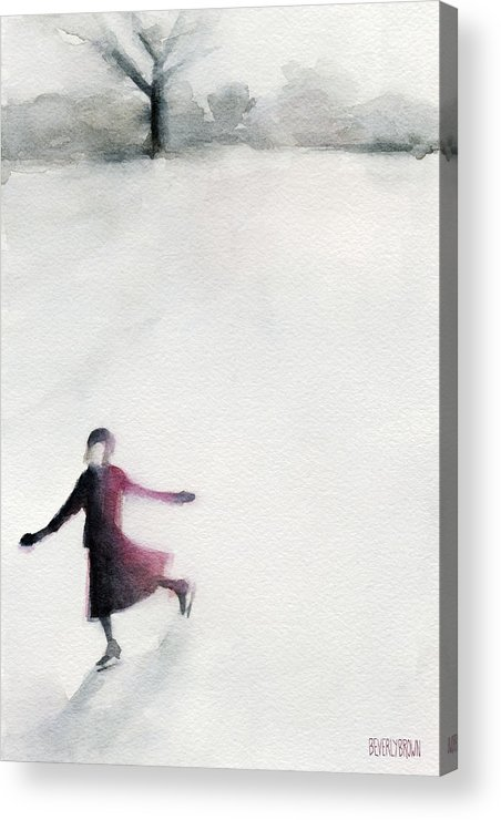 Ice Skating Acrylic Print featuring the painting Young Woman Ice Skating Watercolor Painting by Beverly Brown
