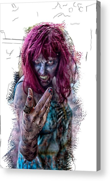 Zombie Horror Acrylic Print featuring the photograph Zombie Want You by John Haldane