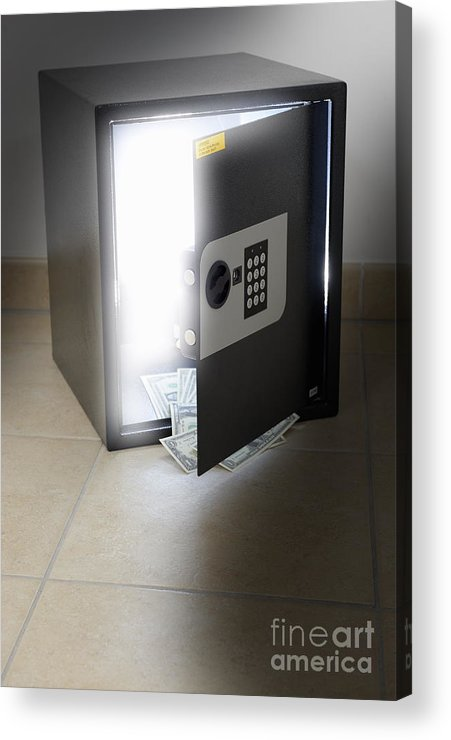 Open Acrylic Print featuring the photograph Light Coming Out A Safe by Sami Sarkis