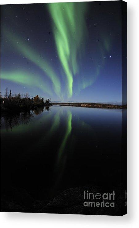 Yellowknife Acrylic Print featuring the photograph Aurora Borealis Over Long Lake by Jiri Hermann