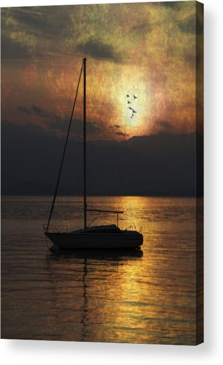 Boat Acrylic Print featuring the photograph Boat In Sunset by Joana Kruse