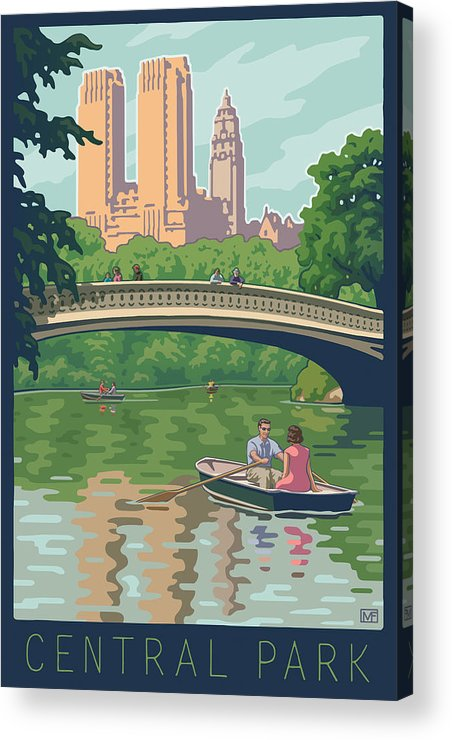 Bow Bridge Acrylic Print featuring the digital art Bow Bridge In Central Park by Mitch Frey