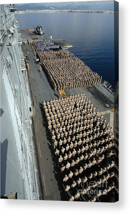 Color Image Acrylic Print featuring the photograph Crew Aboard The Amphibious Assault Ship by Stocktrek Images