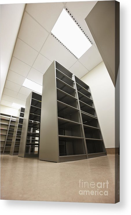 Architecture Acrylic Print featuring the photograph Empty Metal Shelves by Jetta Productions, Inc