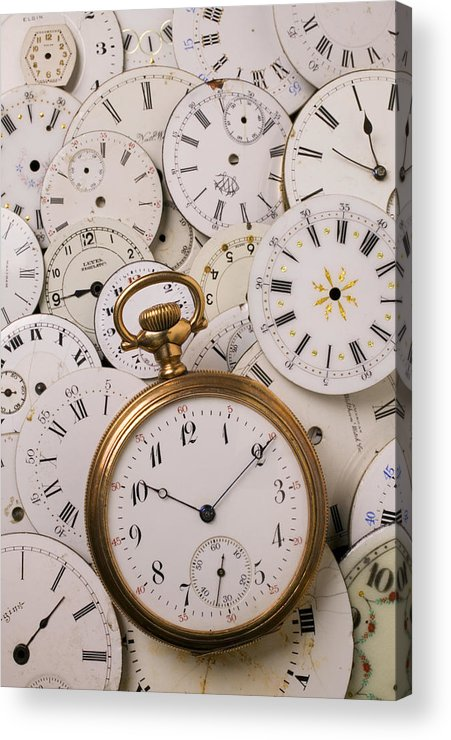 Time Acrylic Print featuring the photograph Old Pocket Watch On Dail Faces by Garry Gay