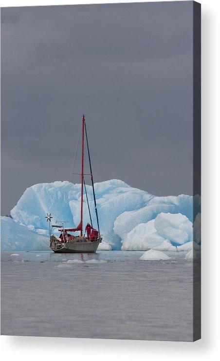 Chile Acrylic Print featuring the photograph Sail Boat In Laguna San Rafael, Laguna by Peter Langer