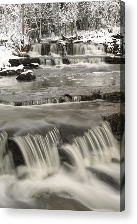 Cascade Acrylic Print featuring the photograph Waterfalls With Fresh Snow Thunder Bay by Susan Dykstra