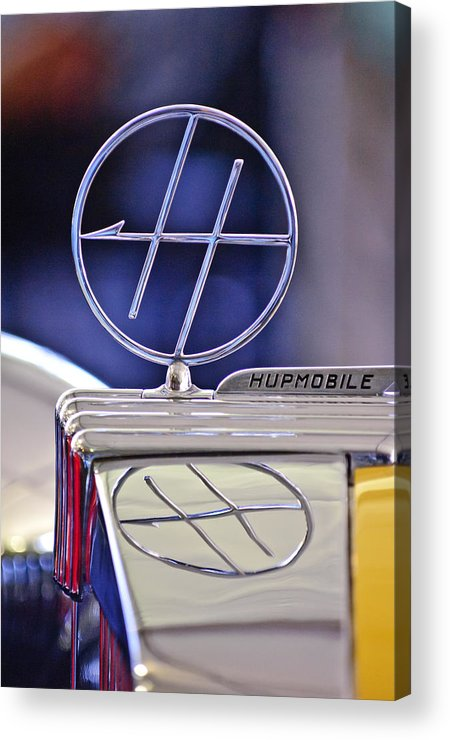 1932 Hupmobile Custom Roadster Acrylic Print featuring the photograph 1932 Hupmobile Custom Roadster Hood Ornament by Jill Reger