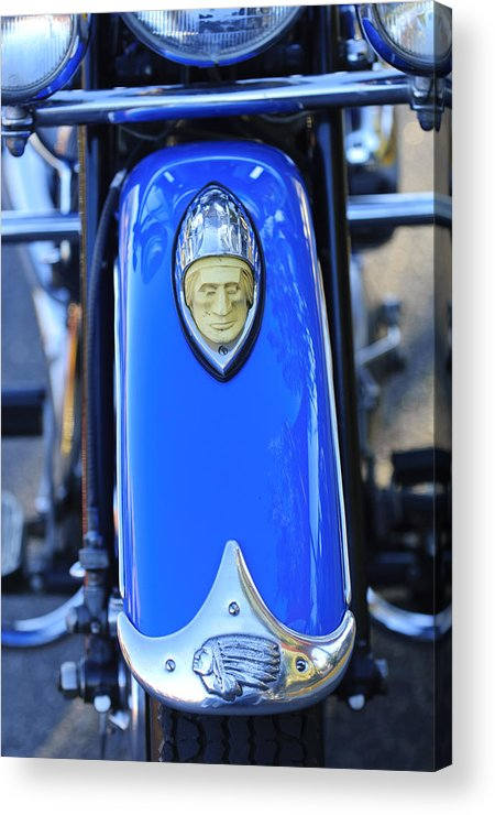 1948 Indian Chief Motorcycle Acrylic Print featuring the photograph 1948 Indian Chief Motorcycle Fender by Jill Reger