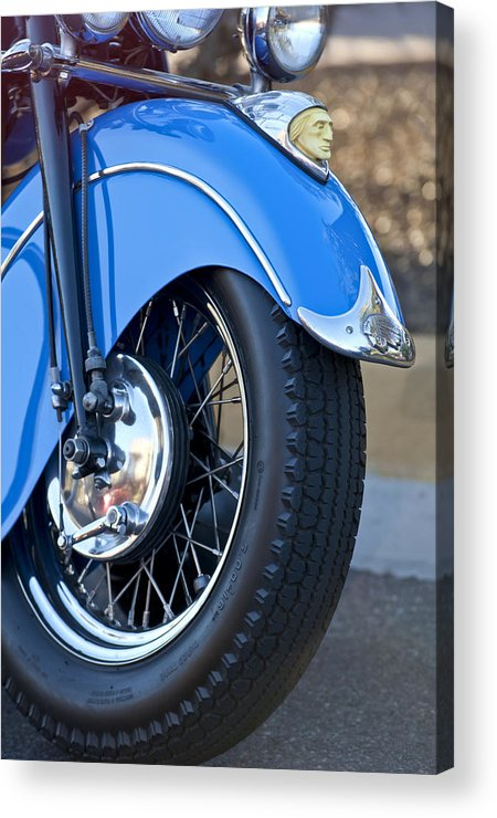 1948 Indian Chief Motorcycle Acrylic Print featuring the photograph 1948 Indian Chief Motorcycle Wheel by Jill Reger