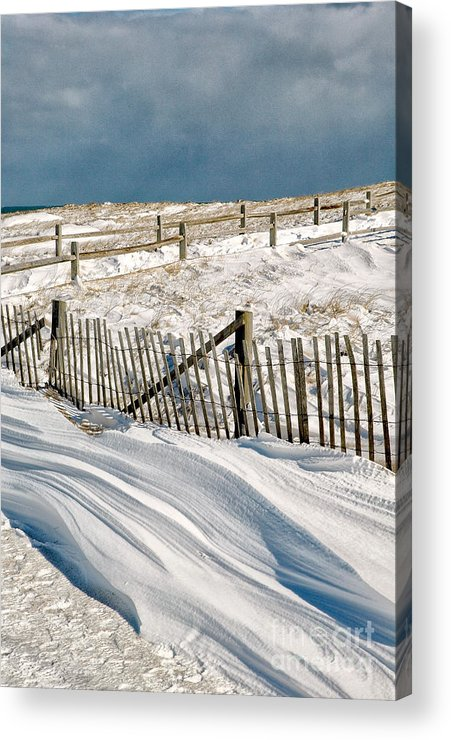 Winter Acrylic Print featuring the photograph Drifting Snow Along The Beach Fences At Nauset Beach In Orleans by Matt Suess