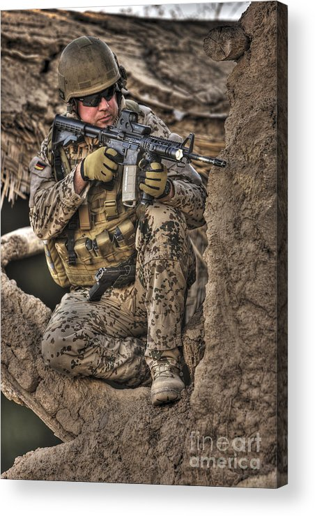 Aiming Acrylic Print featuring the photograph Hdr Image Of A German Army Soldier by Terry Moore