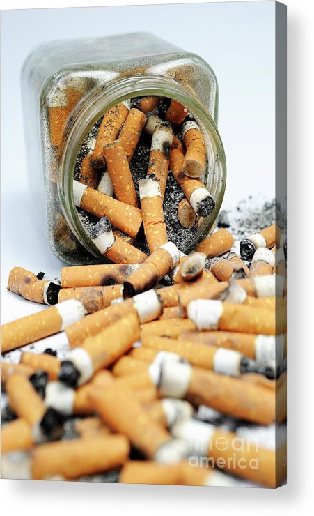 Ugliness Acrylic Print featuring the photograph Jar Overflowing With Cigarette Butts by Sami Sarkis