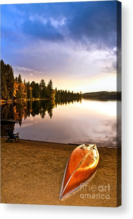 Canoe Acrylic Print featuring the photograph Lake Sunset With Canoe On Beach by Elena Elisseeva