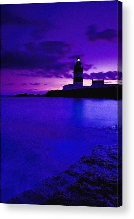 Beacon Acrylic Print featuring the photograph Lighthouse Beacon At Night by Gareth McCormack