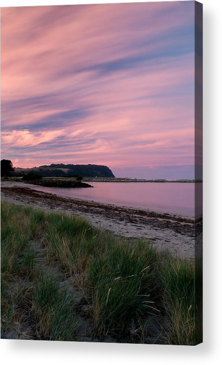Red Acrylic Print featuring the photograph Twilight After A Sunset At A Beach by Ulrich Schade