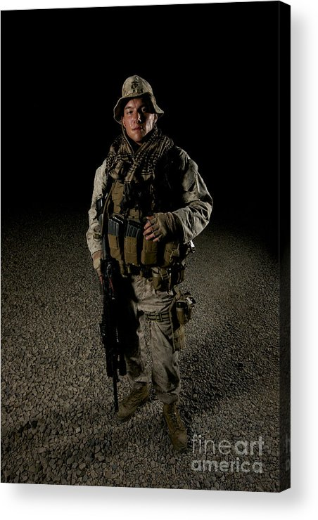 Operation Enduring Freedom Acrylic Print featuring the photograph Portrait Of A U.s. Marine by Terry Moore