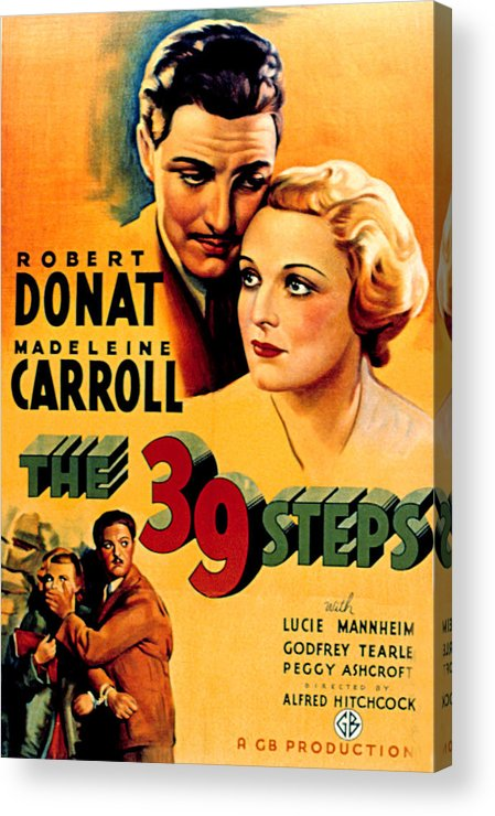 1930s Movies Acrylic Print featuring the photograph 39 Steps, The, Robert Donat, Madeleine by Everett