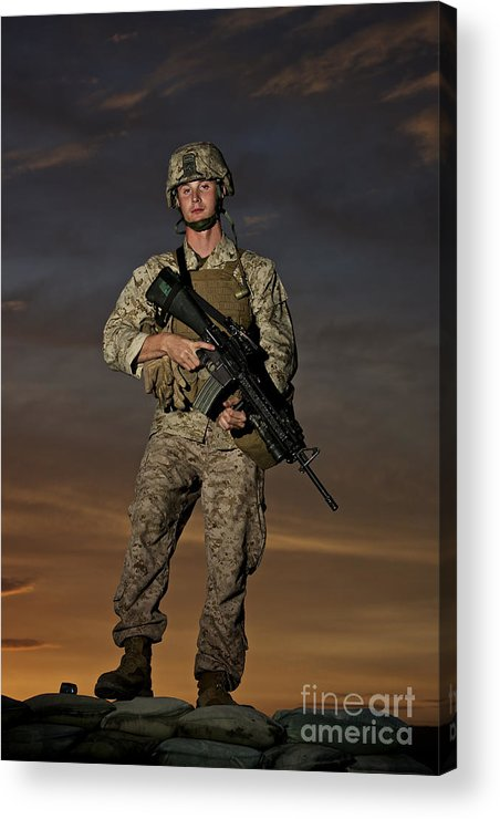 Helmet Acrylic Print featuring the photograph Portrait Of A U.s. Marine In Uniform by Terry Moore