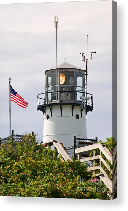 American Flag Acrylic Print featuring the photograph A Hawk Sits Next To Weather Instruments On Top Of Chatham Lighth by Matt Suess