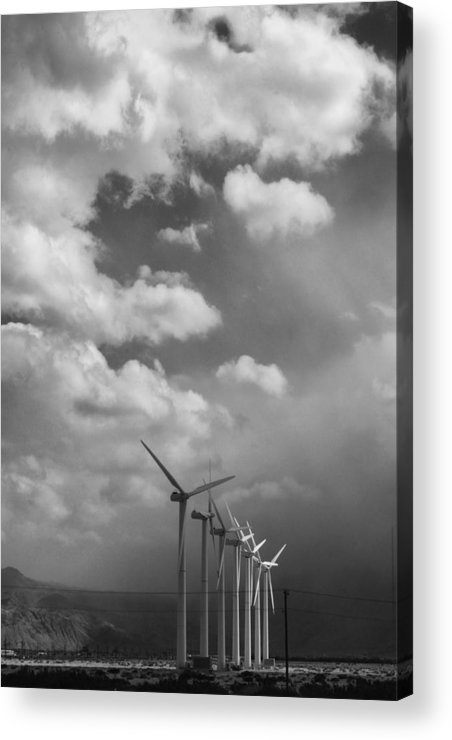 Windmills Acrylic Print featuring the photograph Amongst The Clouds Bw by William Dey